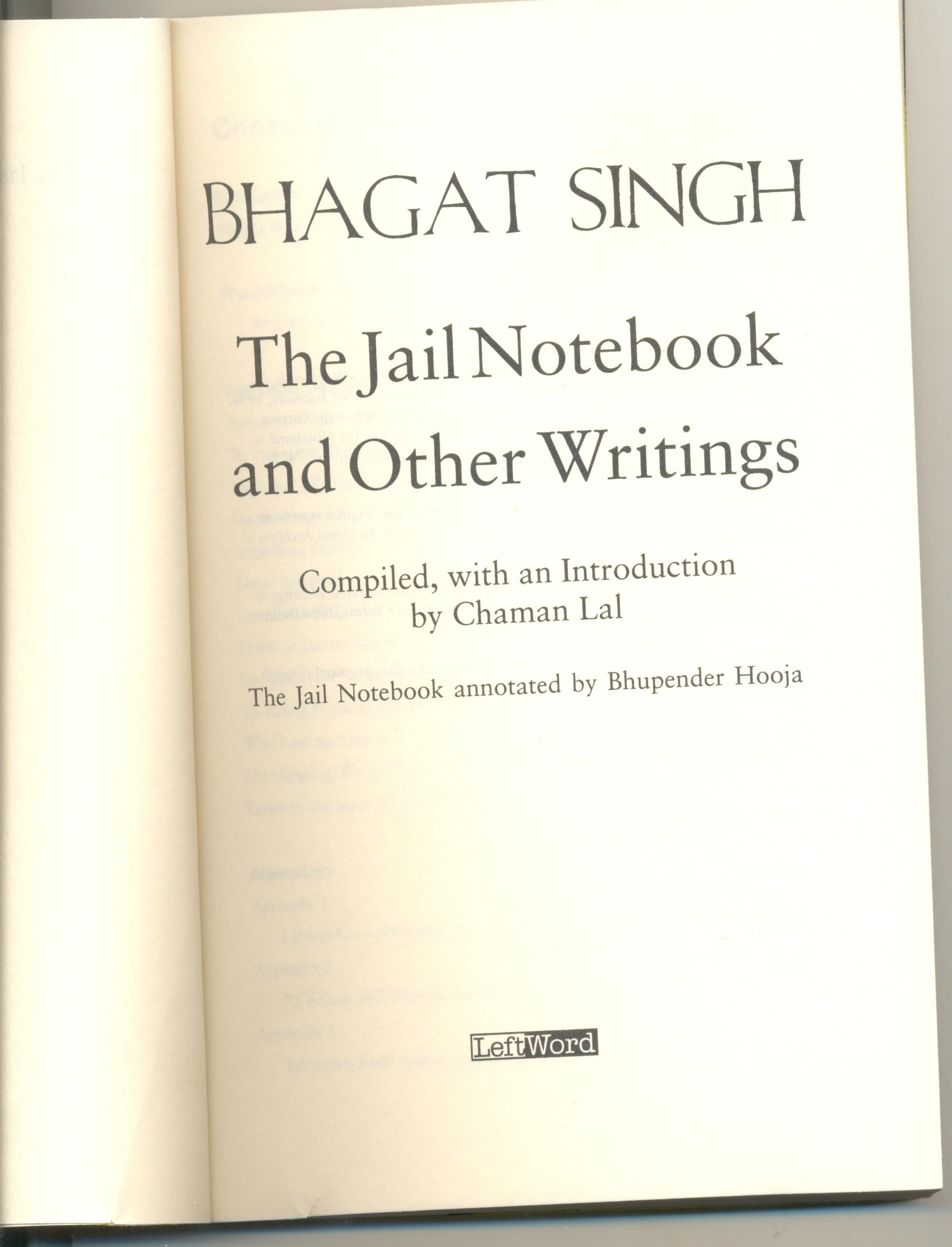 a short publication history of bhagat singh s jail notebook a short publication history of bhagat singh s jail notebook bhagat singh the socialist revolutionary thinker